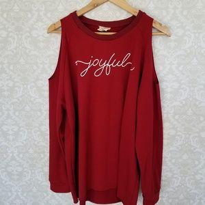 Daisy Rae Joyful cold shoulder sweatshirt sz XL